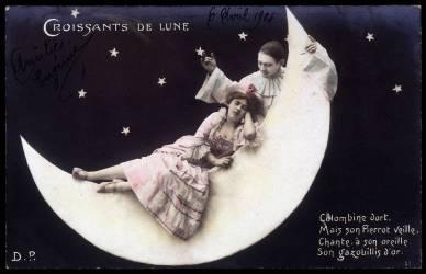 Pierrot et Colombine sur la lune - Carte postale (Anonyme) - Muzeo.com