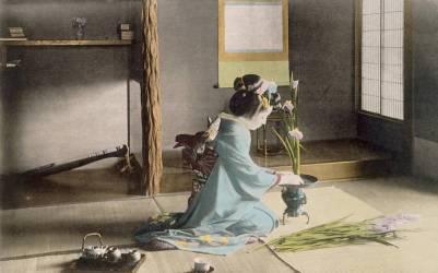 Une fille arrangeant des fleurs. (Anonyme) - Muzeo.com