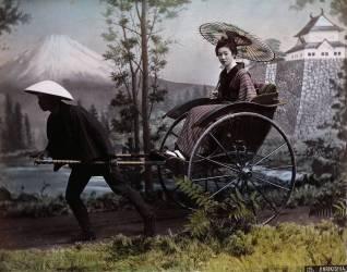 Jeune Japonaise dans un pousse-pousse (Kusakabe Kimbei) - Muzeo.com