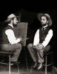 Photomontage representant le peintre Henri de Toulouse-Lautrec (1864-1901) faisant son autoportrait. (anonyme) - Muzeo.com