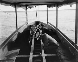Touristes observant les fonds marins depuis la coque d'un bâteau à Nassau (William Henry Jackson) - Muzeo.com