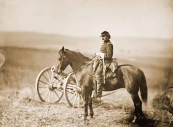 Aide de camp à cheval lors de la guerre civile américaine (Alexander Gardner) - Muzeo.com