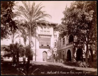 Ambassade de France au Caire, vue prise du jardin (Bonfils Félix) - Muzeo.com
