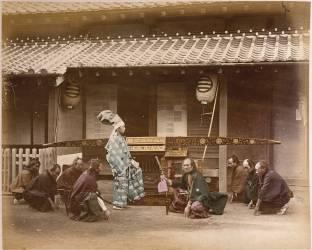 Daimyô (seigneur) accompagné de ses guerriers se rendant à Edo en palaquin (Beato Felice) - Muzeo.com