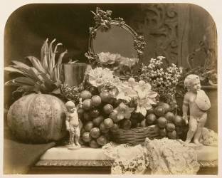 Nature morte de fruits avec miroir et figurines (Roger Fenton) - Muzeo.com