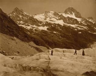 Paysage Alpin : Trois randonneurs sur un Glacier (Adolphe Braun) - Muzeo.com