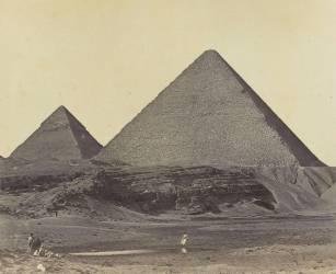 Pyramide de Khéphren à Gizeh, Egypte (Felice Beato) - Muzeo.com