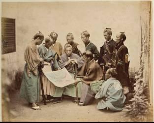 Yakounines (officiers chargés de la police du port, de la douane et de la garde de Yokohama) (Stillfried & Andersen) - Muzeo.com