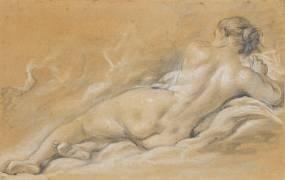Académie de femme nue, couchée, vue de dos (François Boucher) - Muzeo.com