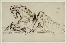 Cheval renversant son cavalier sortant de l'eau (Delacroix Eugène) - Muzeo.com