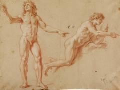 Deux hommes nus : Louis XIV debout et Apollon (Charles Le Brun) - Muzeo.com