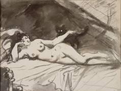 Femme nue, étendue sur un lit, la femme au chat (Edouard Manet) - Muzeo.com