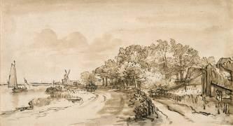 Les Bords de l'Amstel près de Trompenburg (Rembrandt) - Muzeo.com