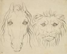 Album I : une tête de cheval et une tête de lion (Charles Le Brun) - Muzeo.com