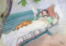 Femme allongée sur un banc (Larsson Carl) - Muzeo.com