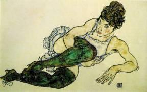 Femme aux bas verts (Egon Schiele) - Muzeo.com