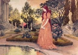 Jeune fille dans un jardin (Eugène Grasset) - Muzeo.com