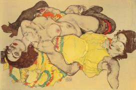 Les femmes enlacées (Schiele Egon) - Muzeo.com