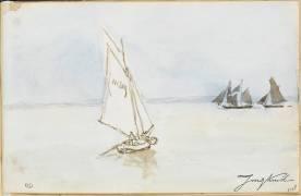 Navires à voiles en pleine mer (Johan Barthold Jongkind) - Muzeo.com