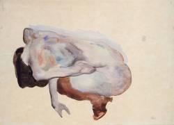 Nu accroupi en bas noirs et chaussures (Schiele Egon) - Muzeo.com