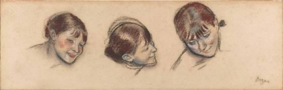 Trois études de la tête d'une danseuse (Degas Edgar) - Muzeo.com