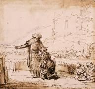 Booz rencontrant Ruth dans son champ (Rembrandt Harmensz van Rijn) - Muzeo.com