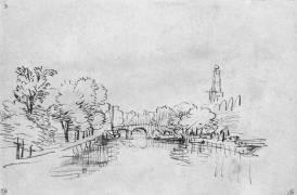Canal dans une ville (Rembrandt Harmensz van Rijn) - Muzeo.com