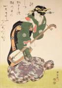 Courtisane avec un instrument de musique (Utagawa Kuniyoshi) - Muzeo.com