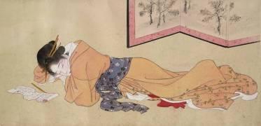 Dix scènes d'amour : prostituée endormie (Shunei Katsukawa) - Muzeo.com