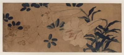 Grand lys blanc et autre plante (Hokusai) - Muzeo.com