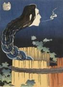 L'Esprit de la servante Okiku sortant d'un puits (Hokusai) - Muzeo.com