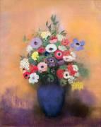 Anémones et Lilas dans un Vase Bleu (Odilon Redon) - Muzeo.com