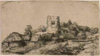 Le paysage à la Tour carrée ; 3 ème état (Rembrandt Harmensz van Rijn) - Muzeo.com