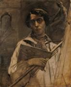 Autoportrait de l'artiste tenant une palette (Chasseriau Théodore) - Muzeo.com