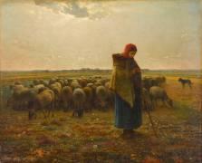 Bergère avec son troupeau (Jean-François Millet) - Muzeo.com