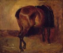 Etude de cheval bai vu de derrière (Géricault Théodore) - Muzeo.com