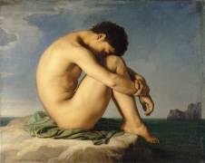 Jeune homme nu assis au bord de la mer - Etude (Hippolyte Flandrin) - Muzeo.com