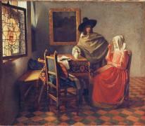 Le verre de vin (Vermeer Johannes) - Muzeo.com
