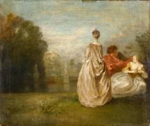 Les Deux cousines (Watteau Antoine) - Muzeo.com