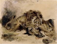 Lion dévorant un cheval (Delacroix Eugène) - Muzeo.com