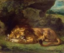 Lion dévorant un lapin (Delacroix Eugène) - Muzeo.com