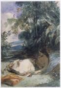 L'Odalisque au palmier ; jeune indienne (inca) (Richard Parkes Bonington) - Muzeo.com
