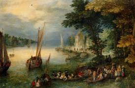 Scène fluviale ou Le Débarquement (Jan Brueghel l'Ancien) - Muzeo.com
