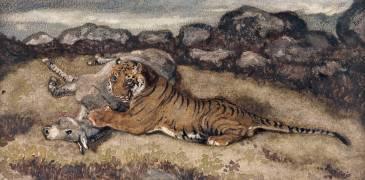 Tigre dévorant un onagre (Antoine-Louis Barye) - Muzeo.com