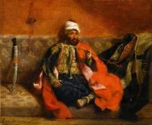 Turc fumant, assis sur un divan (Delacroix Eugène) - Muzeo.com