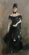 Avant le Théâtre ou Femme en Noir (Berthe Morisot) - Muzeo.com