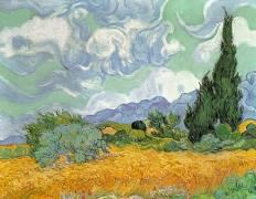Champ de blé avec cyprès, 1889 (Vincent Van Gogh) - Muzeo.com