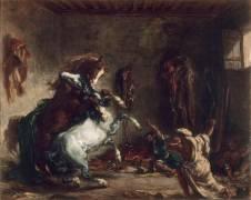 Chevaux arabes se battant dans une écurie (Delacroix Eugène) - Muzeo.com