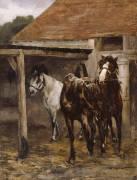 Chevaux à l'écurie (Roll Alfred) - Muzeo.com