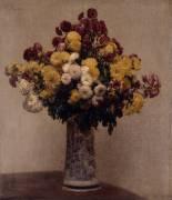 Chrysanthèmes dans un vase (Fantin-Latour Henri) - Muzeo.com